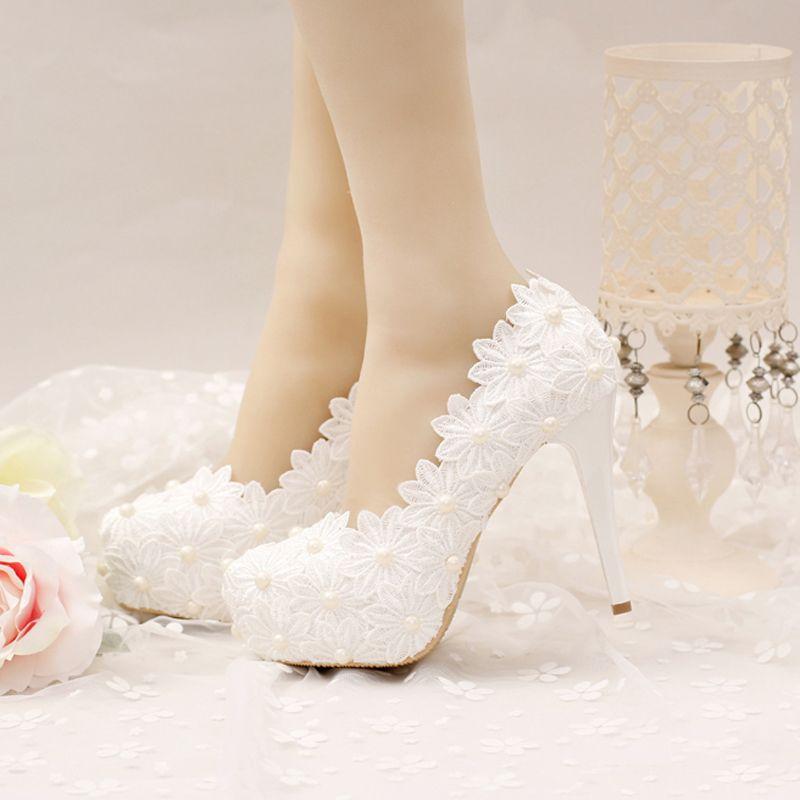 Weiß Spitze Blume Hochzeit Schuhe High Stiletto Formelle kleidung ...