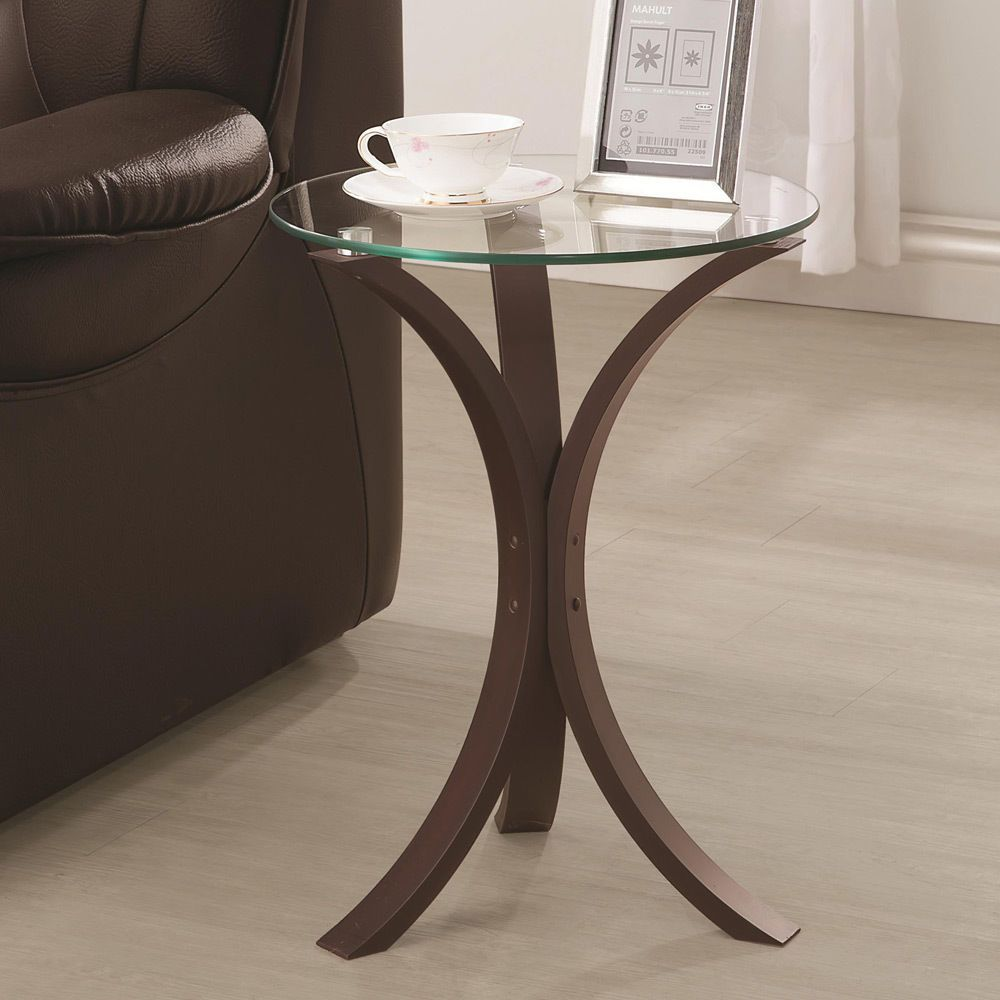 Accent Snack Sofa End Chair Side Table Stand Round Glass Top Cappuccino Base Glass Top End Tables Glass End Tables Glass Accent Tables