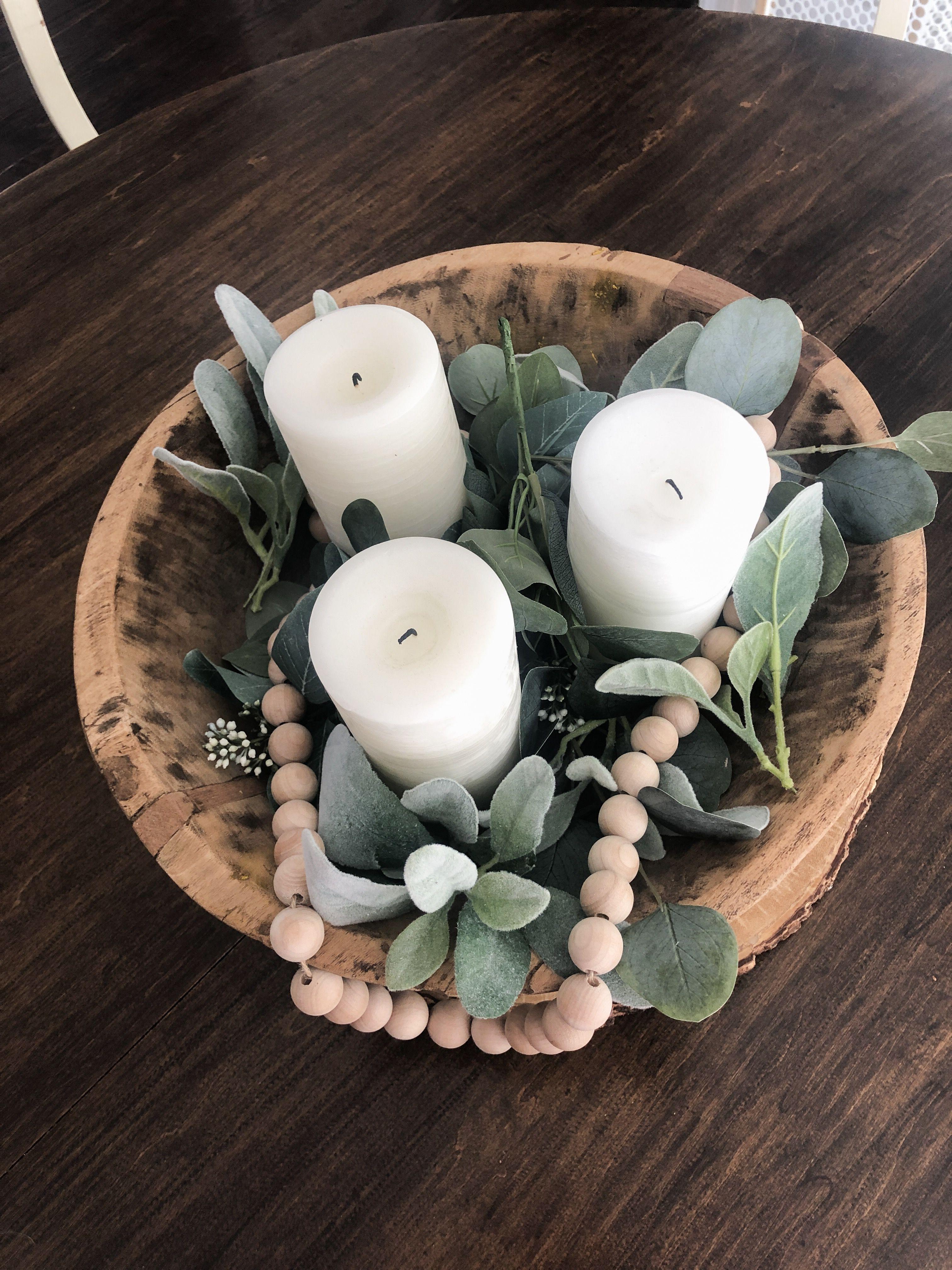 Centerpiece Dough Bowl Vintage Greenery Eucalyptus Lamb S Ear Wooden Beads Candles P Wood Bowl Decor Decorative Bowl Centerpiece Wood Bowl Centerpiece