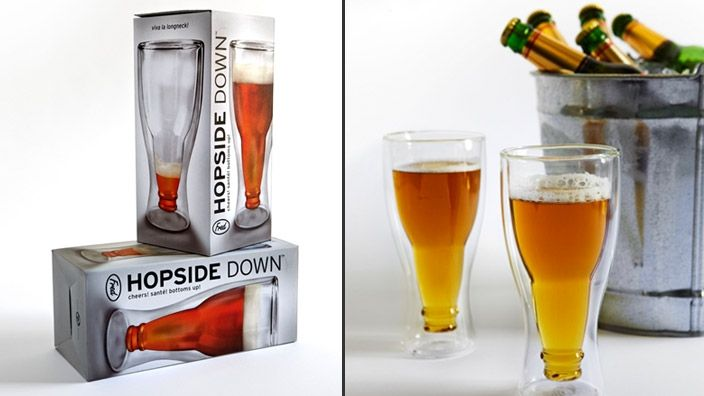 these are too cute - 'Hopside Down' upside down beer glasses.