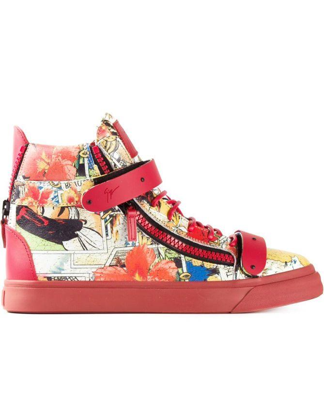GIUSEPPE ZANOTTI DESIGN Floral Print Hi-top Sneakers