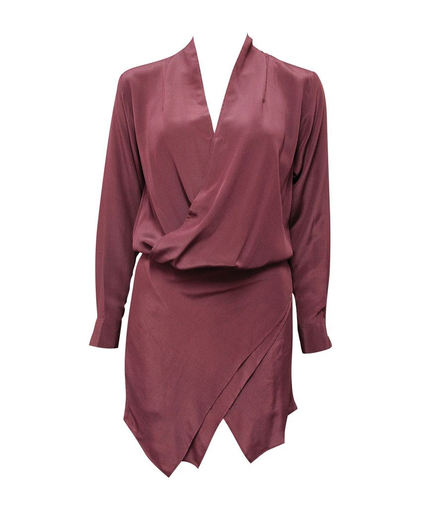 MAURIE AND EVE  jagger drape dress  SHOP NOW > http://www.threadbare.co/collections/designers-clothing/products/jagger-drape-dress-1  #maurieandeve #wine #longsleeve #minidress #asymmetric #silk