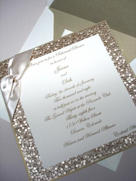wedding invitations glamour elegant champagne invites shimmer square