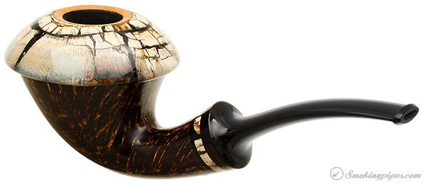 Tom Eltang Gotang Smooth Calabash with Mammoth Ivory Cap and Ring Pipes