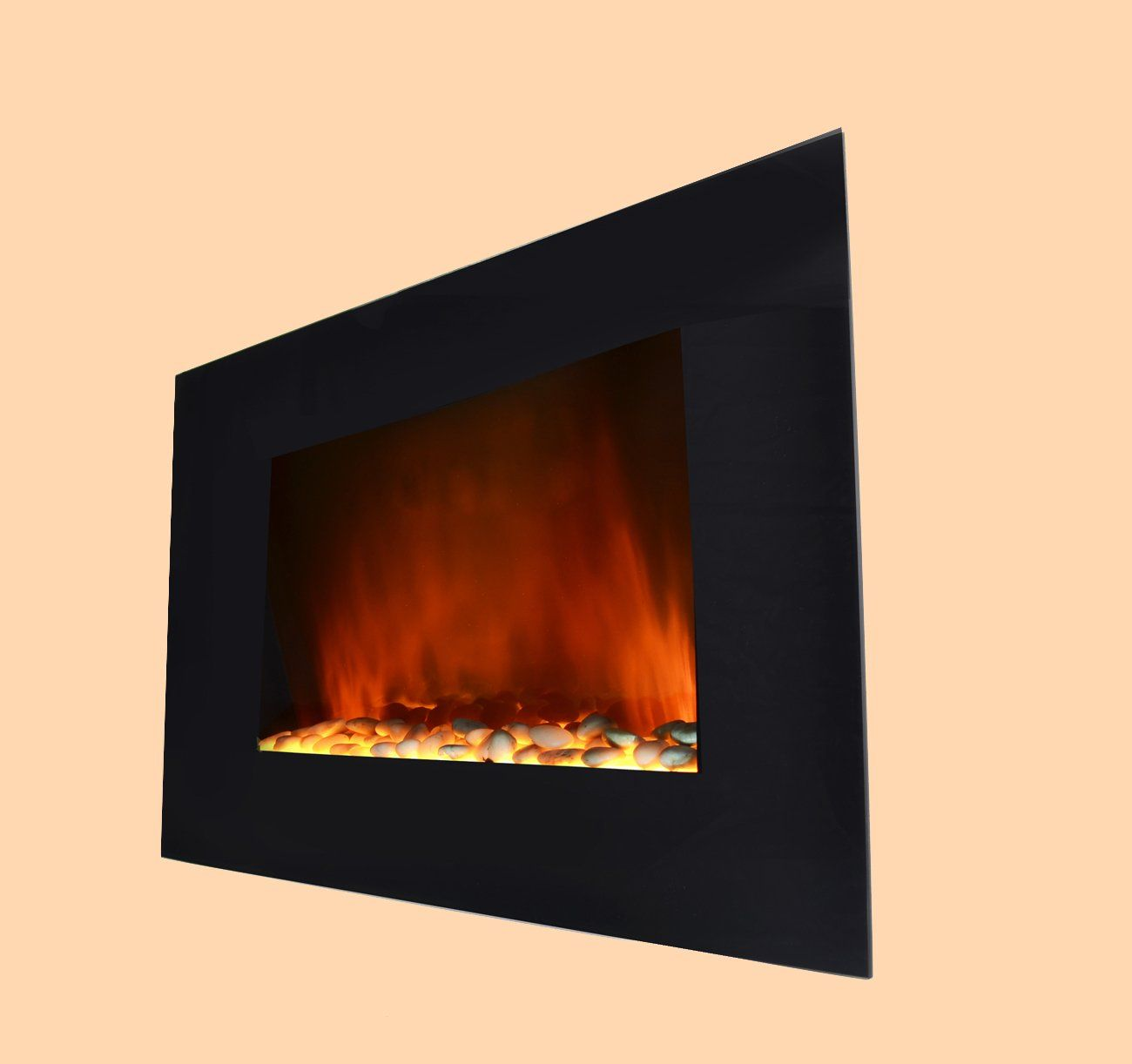 Amazon Com 36 Inch Wall Mount Modern Space Heater Electric Fireplace Heater Flat Tempered Glass W Electric Fireplace Fireplace Wall Mount Electric Fireplace