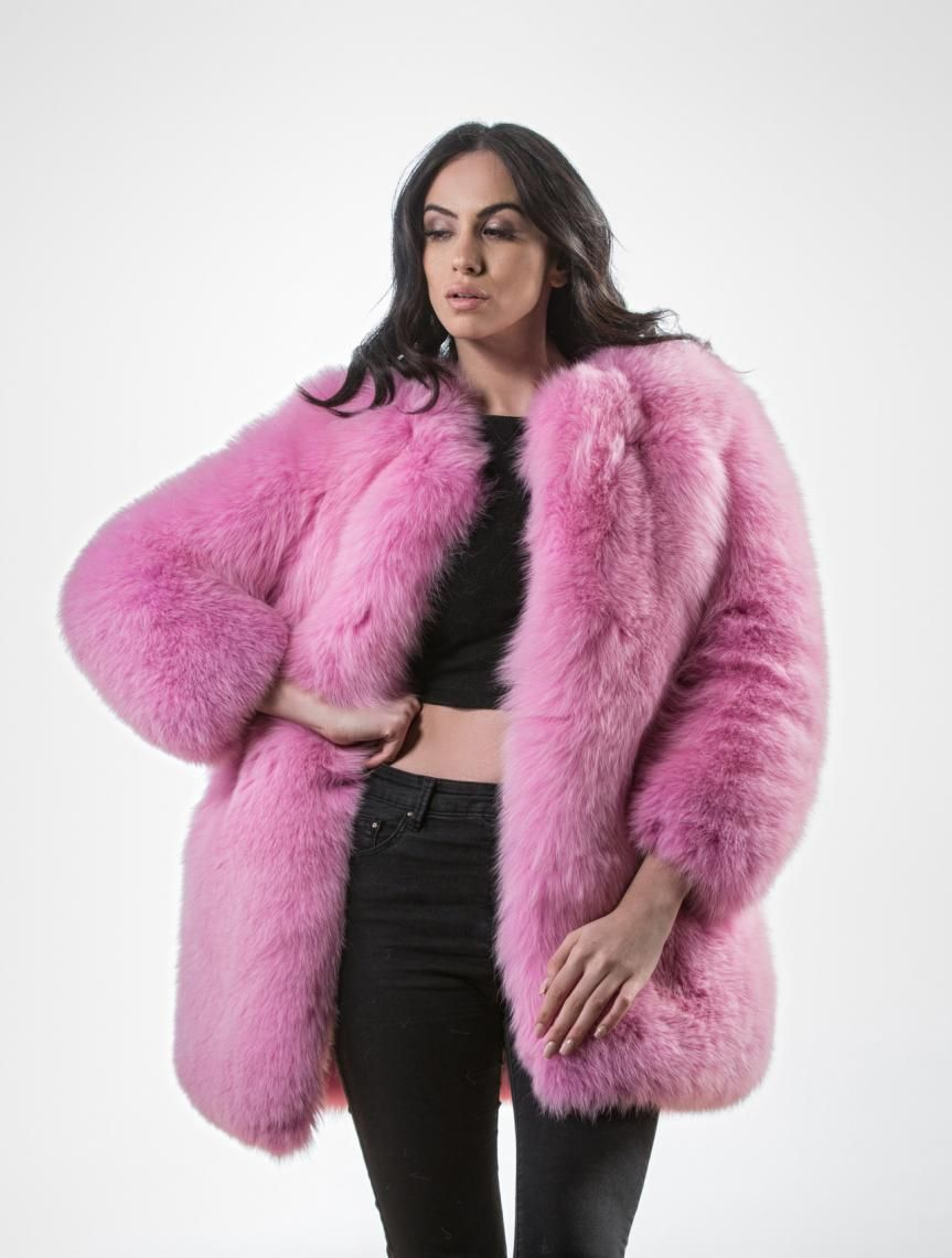 01e4de205 Pink Fluffy Fox Fur Jacket | fashion | Fox fur jacket, Fur jacket ...