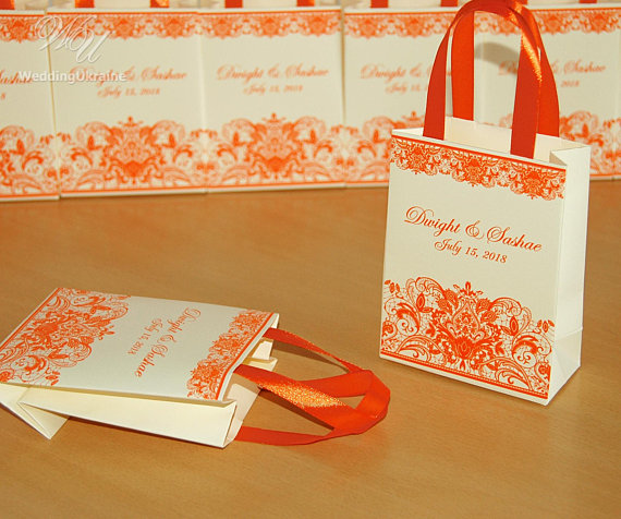 Orange Wedding Gift Bags For Small Souvenirs Personalized Bag With