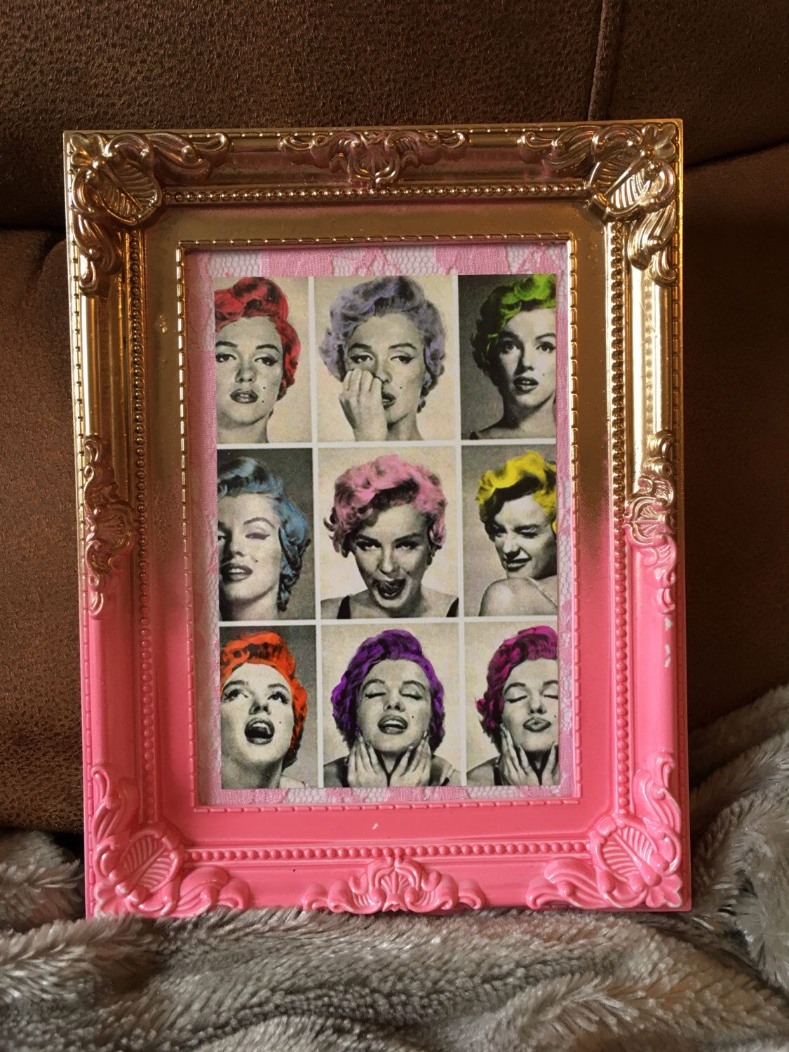 Marilyn Monroe multi colour hair print in a gold and pink