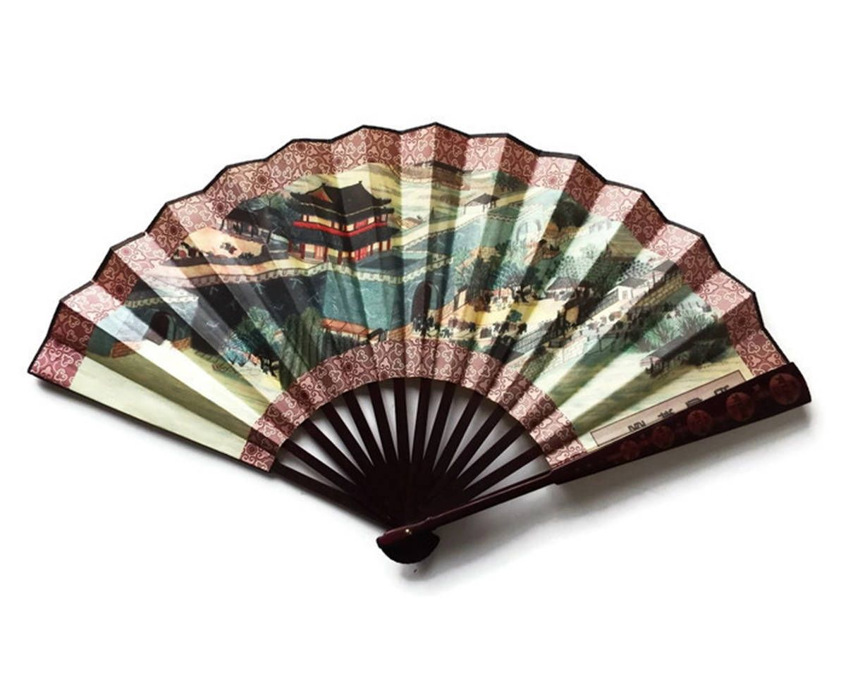 Vintage Japanese Silk Fan Large Two Sided Silk Screen Chinese Fan Wall Art Asian Decor Touch Screen Design Screen Printing Designs Decorative Screen Doors