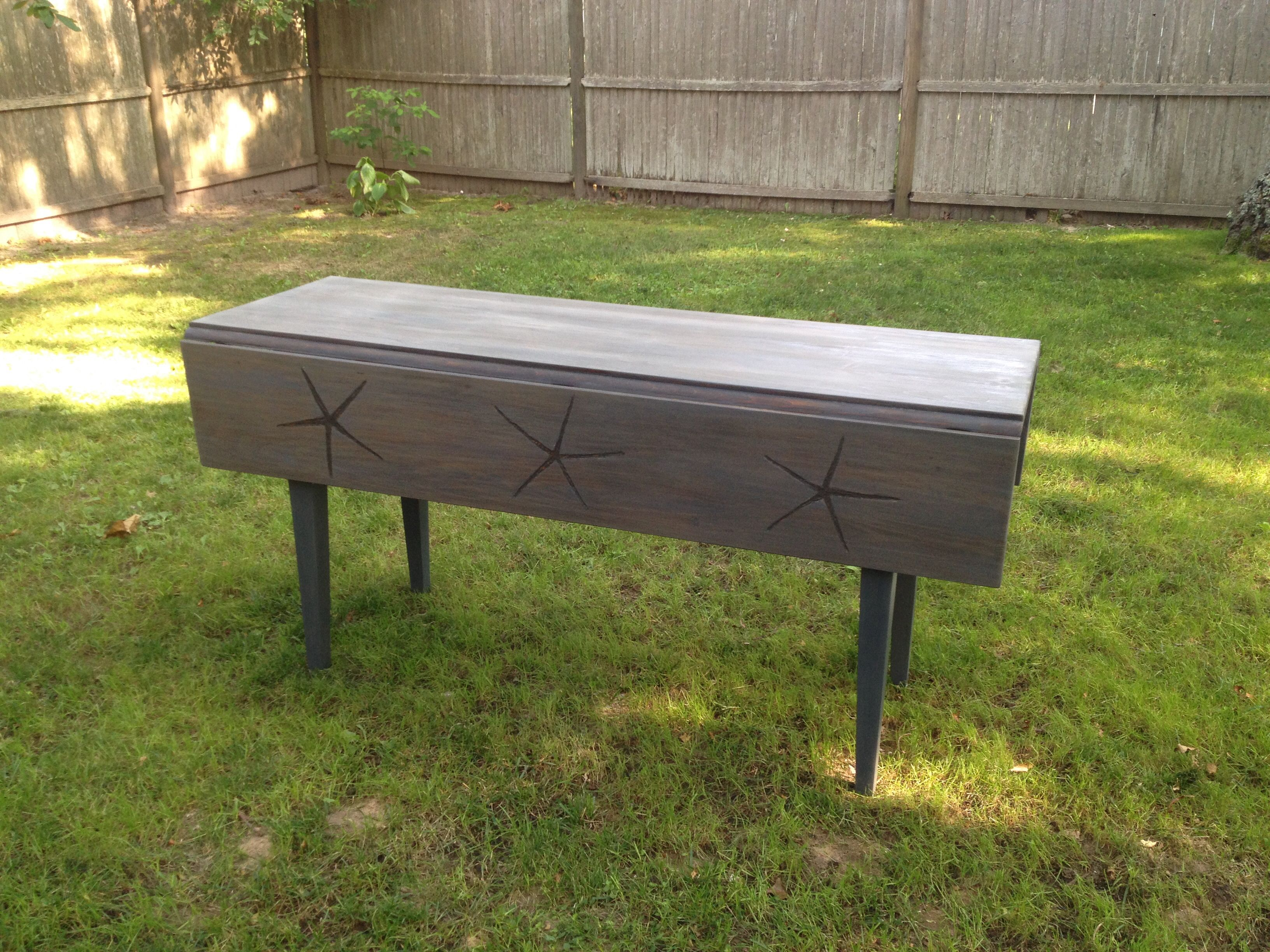 Starfish Rehabbed 5 Ft Drop Leaf Table For Sale Drop Leaf Table Hand Painted Furniture Leaf Table