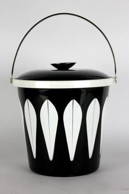 Nice Cathrineholm Norway Lotus Black Enamel Mid Century Danish Modern Ice Bucket  MCB Images