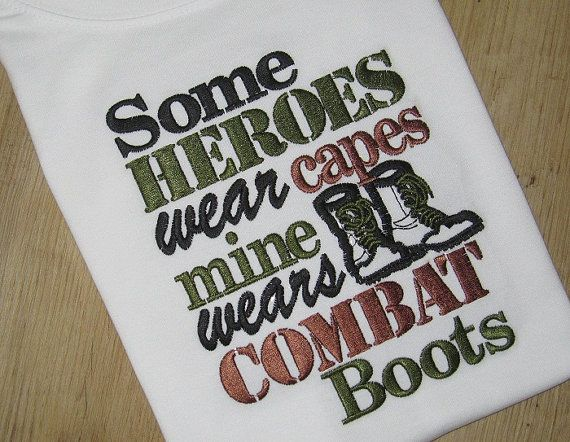 Military Sayings HERO wears combat boots by SouthernBelleBows, $25.00