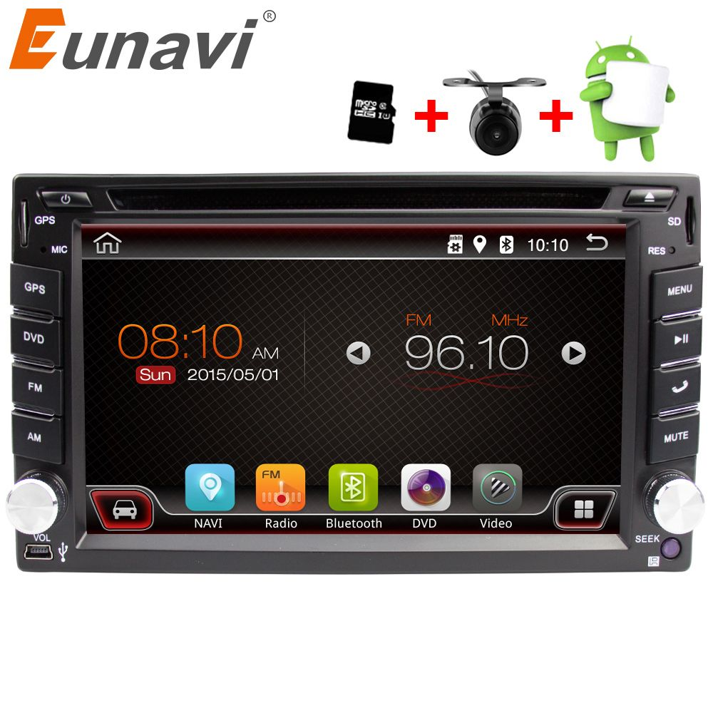 eunavi universel 2 din android 6 0 lecteur dvd de voiture gps wifi bluetooth radio quad. Black Bedroom Furniture Sets. Home Design Ideas
