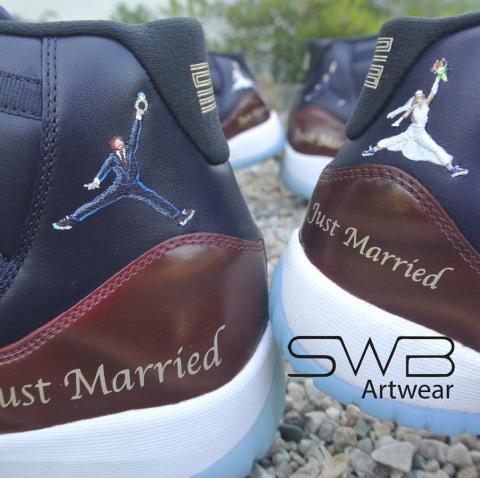 658cbcc36cc4 Our Wedding Shoes! Custom Jordan 11s! Custom Bride   Groom Jumpman Jordan  11s! - Collective Kicks