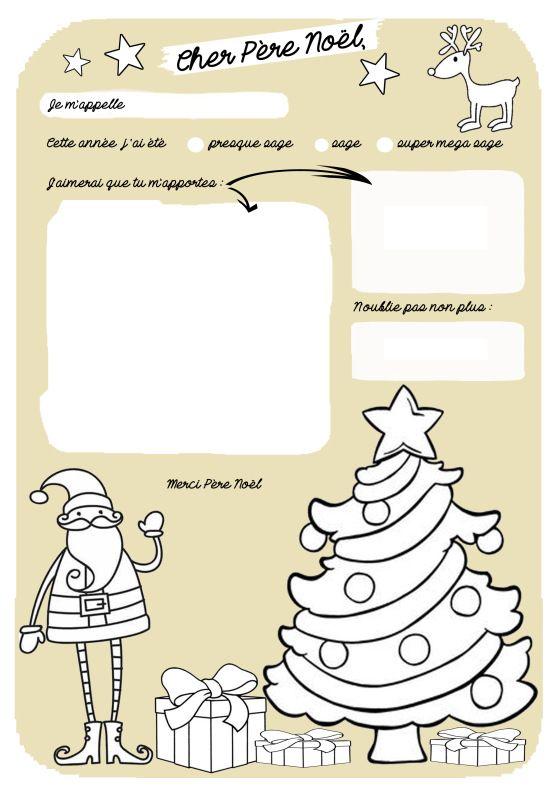 Cher Père Noël… | Pere noel a colorier, Lettre pere noel, Cher