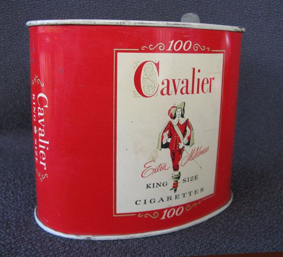 vintage red tobacco tin Cavalier cigarettes. by mudintheUSA #epsteam
