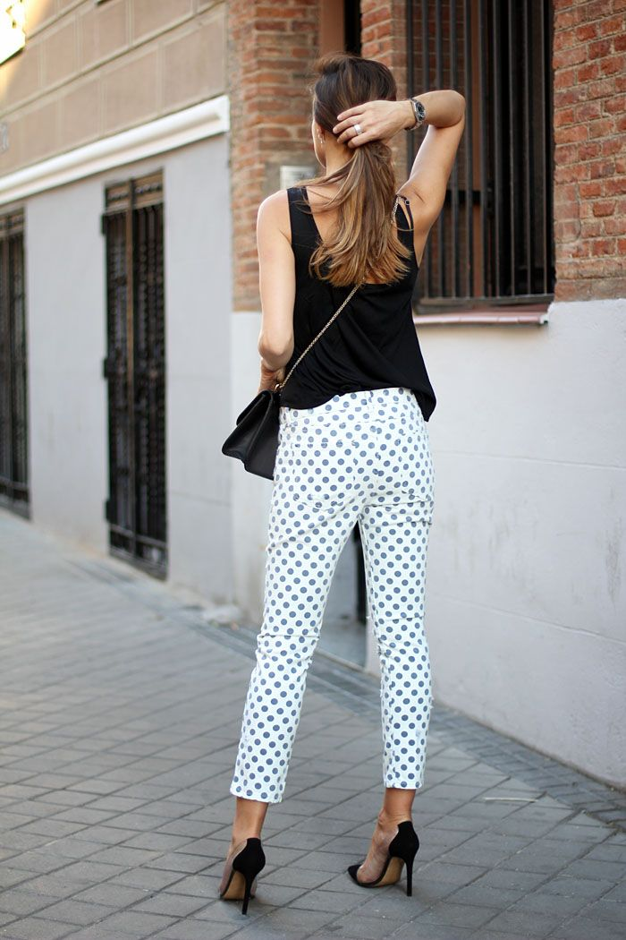 3c187a99 justthedesign: Silvia Zamora is wearing a shirt and polka dot trousers from  Zara, shoes from Lady Addict and a Valentino bag