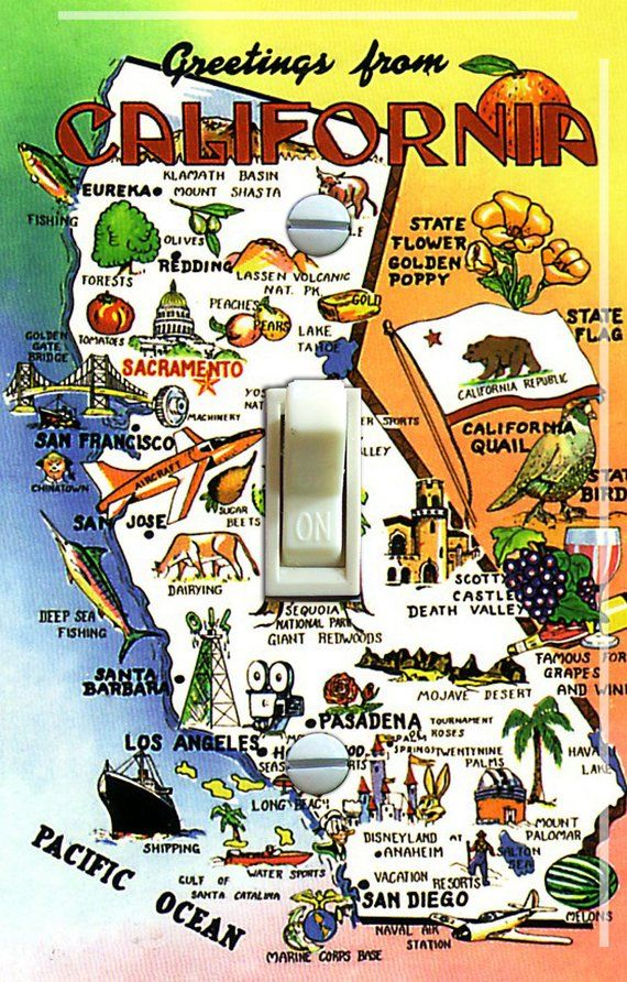 Vintage San Diego Map.California Map Vintage Travel Poster Switch Plate Single Free