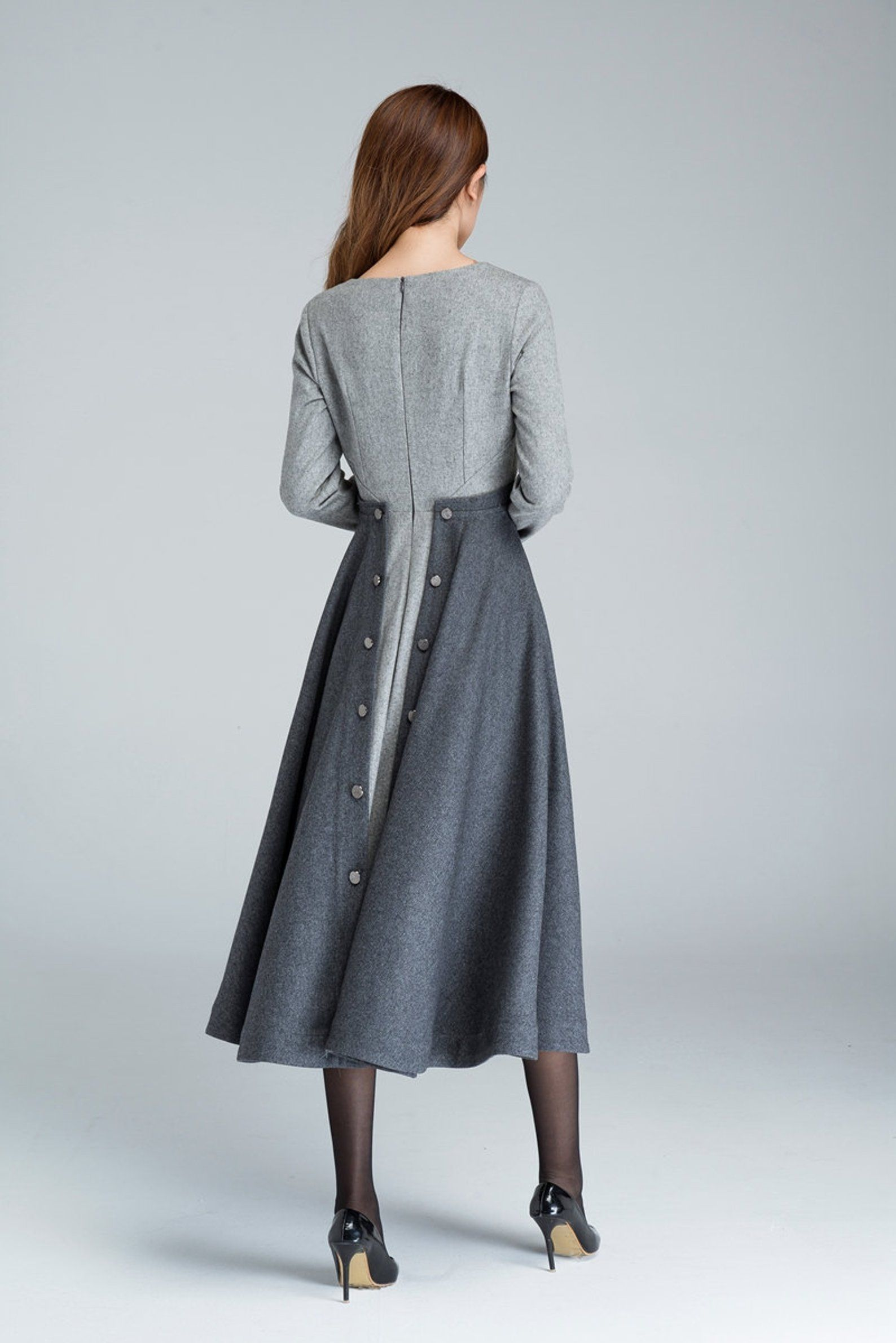 13s Grey Fit and Flare wool dress, womens dresses, Winter dress