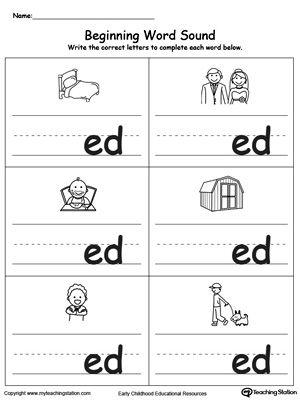 Beginning Word Sound Ed Words Word Family Worksheets Kindergarten Phonics Worksheets Word Families Printables Free printable kindergarten phonics worksheets