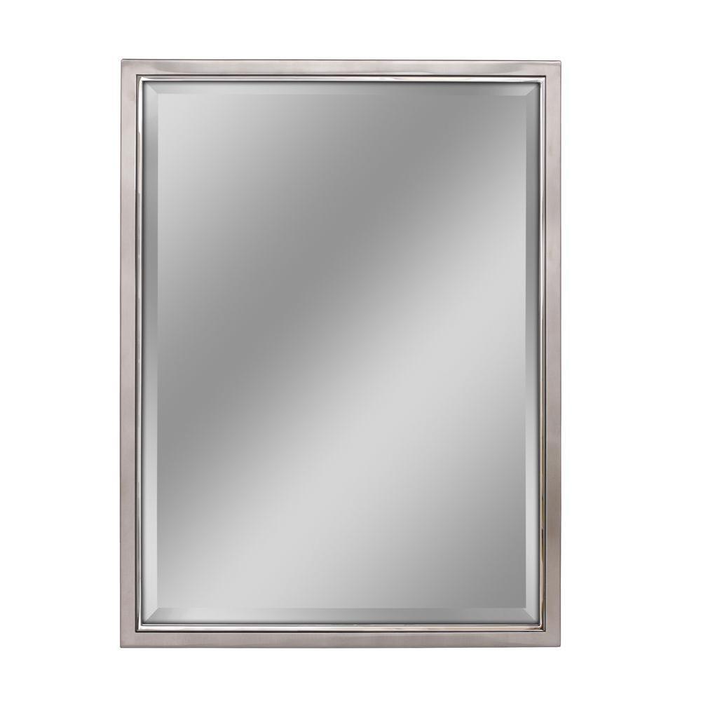 Deco Mirror 30 In W X 40 In H Framed Rectangular Beveled Edge Bathroom Vanity Mirror In Brush Nickel With Chrome Inner Lip 8773 The Home Depot Mirror Wall Beveled Edge