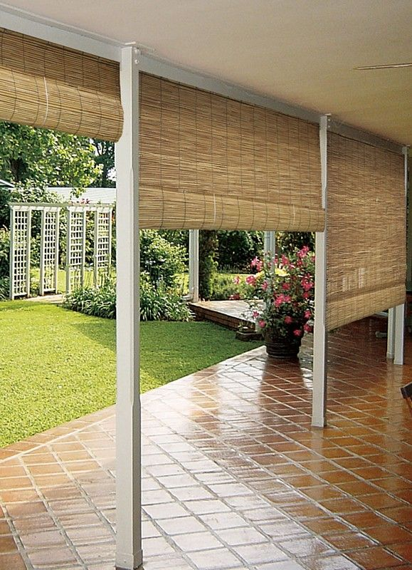 This Is A Cool Idea For An Outdoor Patio Porch Or Deck You Can Roll Them Down For Privacy Or When The Sun Is Shining Right In It Patio Shade Backyard