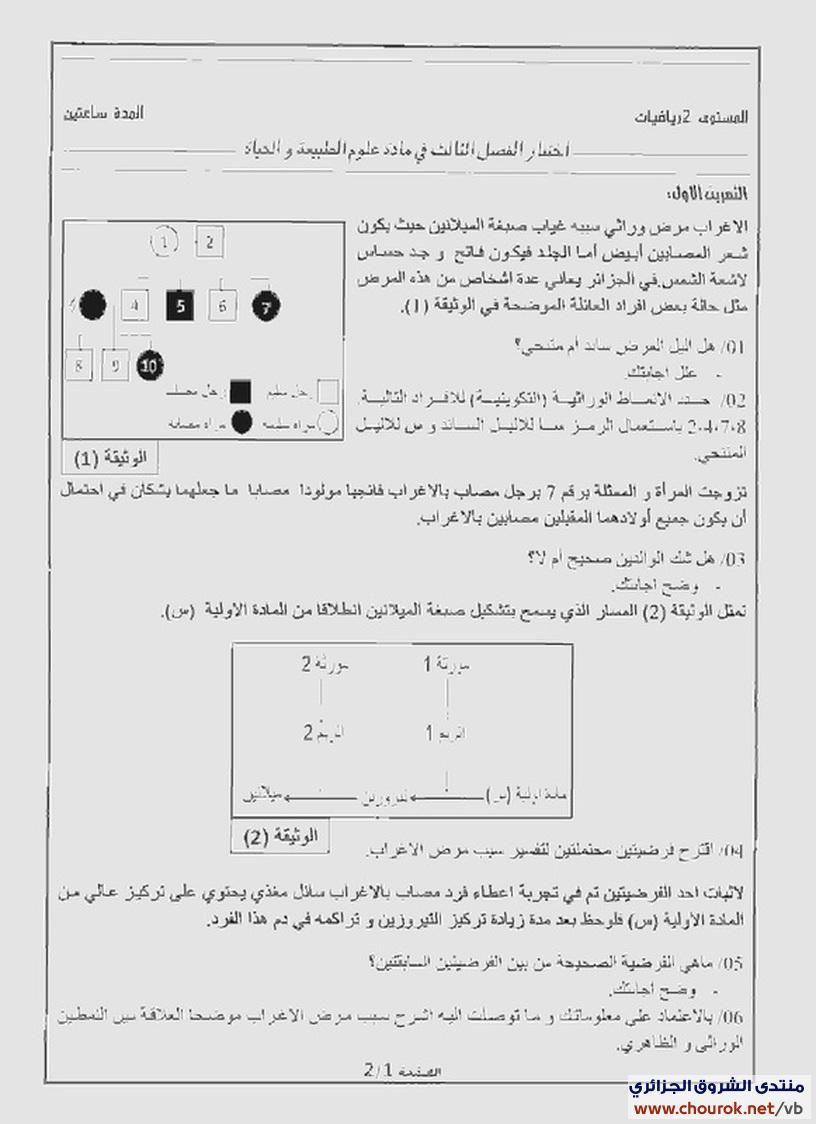 اختبار الفصل الثالث في مادة العلوم الطبيعية والحياة للسنة الثانية ثانوي لشعبة الرياضيات Chourok Net144717267 Diagram Sheet Music