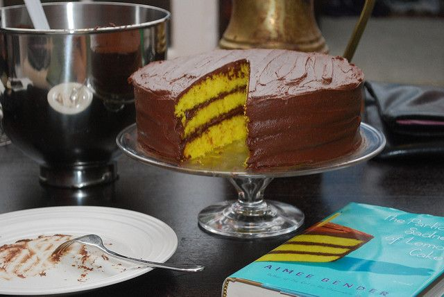 An easy lemon layer cake with homemade chocolate frosting.