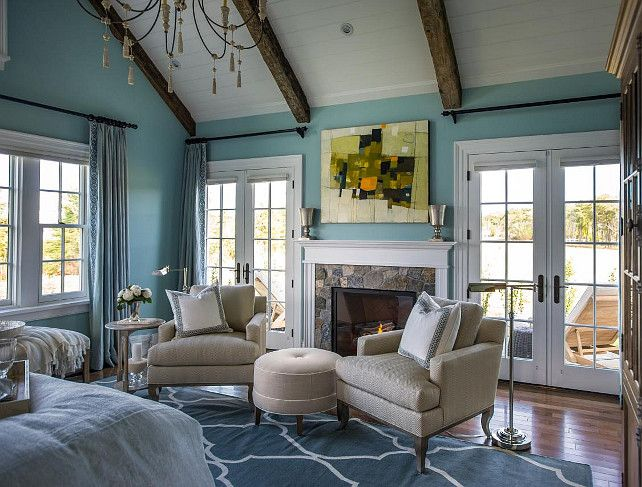 Best Coastal Master Bedroom Sitting Area With French Doors 400 x 300