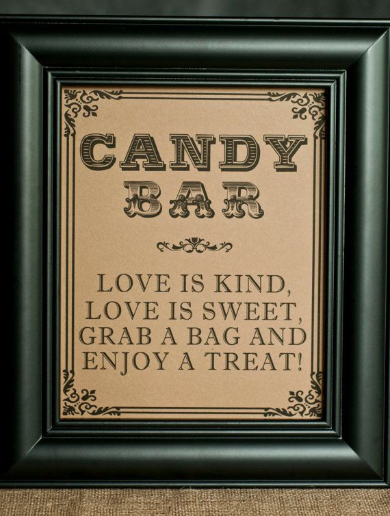 8 x 10 Candy Bar Wedding sign - Love is Kind, Love is Sweet, Grab a Bag  Enjoy a Treat - Candy Buffet Dessert Table on Etsy, $9.60 AUD