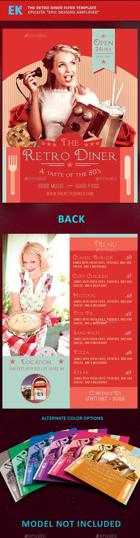 The Retro Diner Flyer Template  Flyer Template Diners And Template