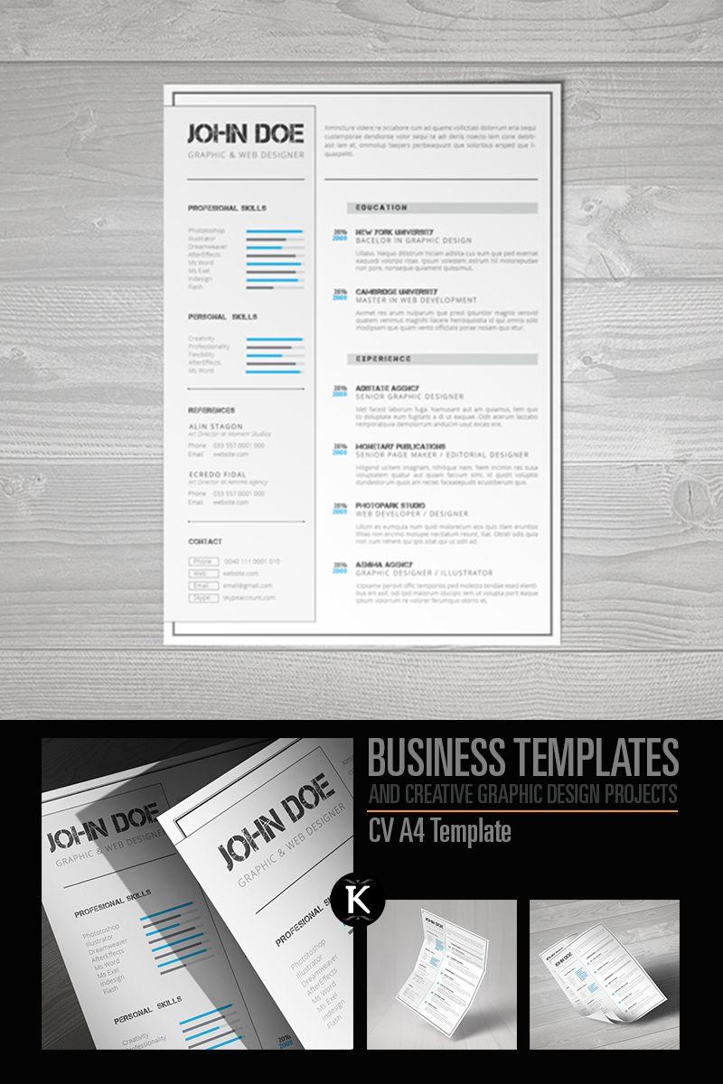Cv a4 format indesign resume template 65326 indesign