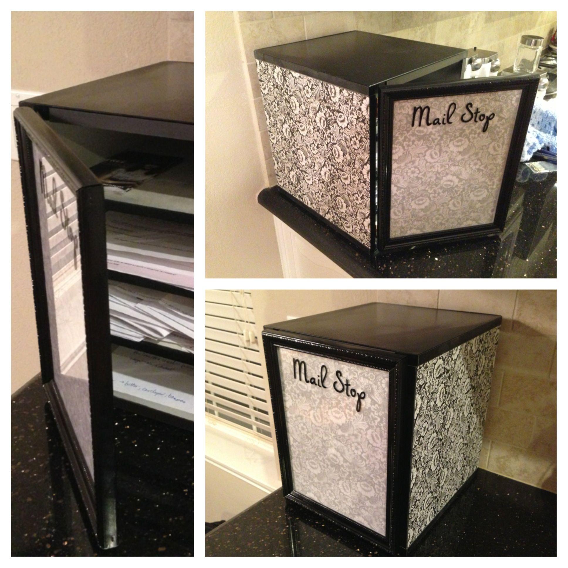 DIY Mail organizer/bill sorter/dry erase board. Spray