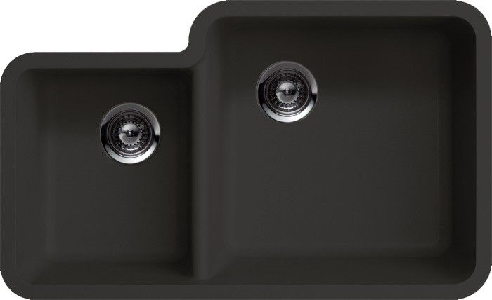 Black Quartz Composite 40 60 Double Bowl Undermount Kitchen Sink 33 X 20 13 16 Modern Kitchen Sinks Double Bowl Undermount Kitchen Sink Granite Kitchen Sinks