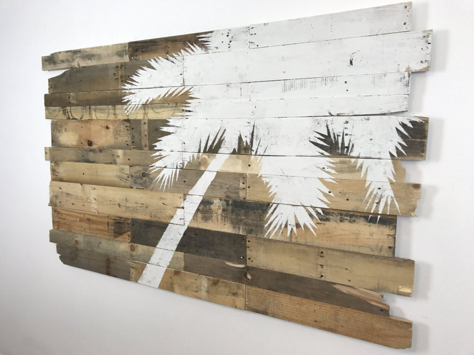 Huge Beach Decor White Palm Tree Right Lean On Natural Etsy Beach Decor Pallet Wall Art Reclaimed Pallet Wood