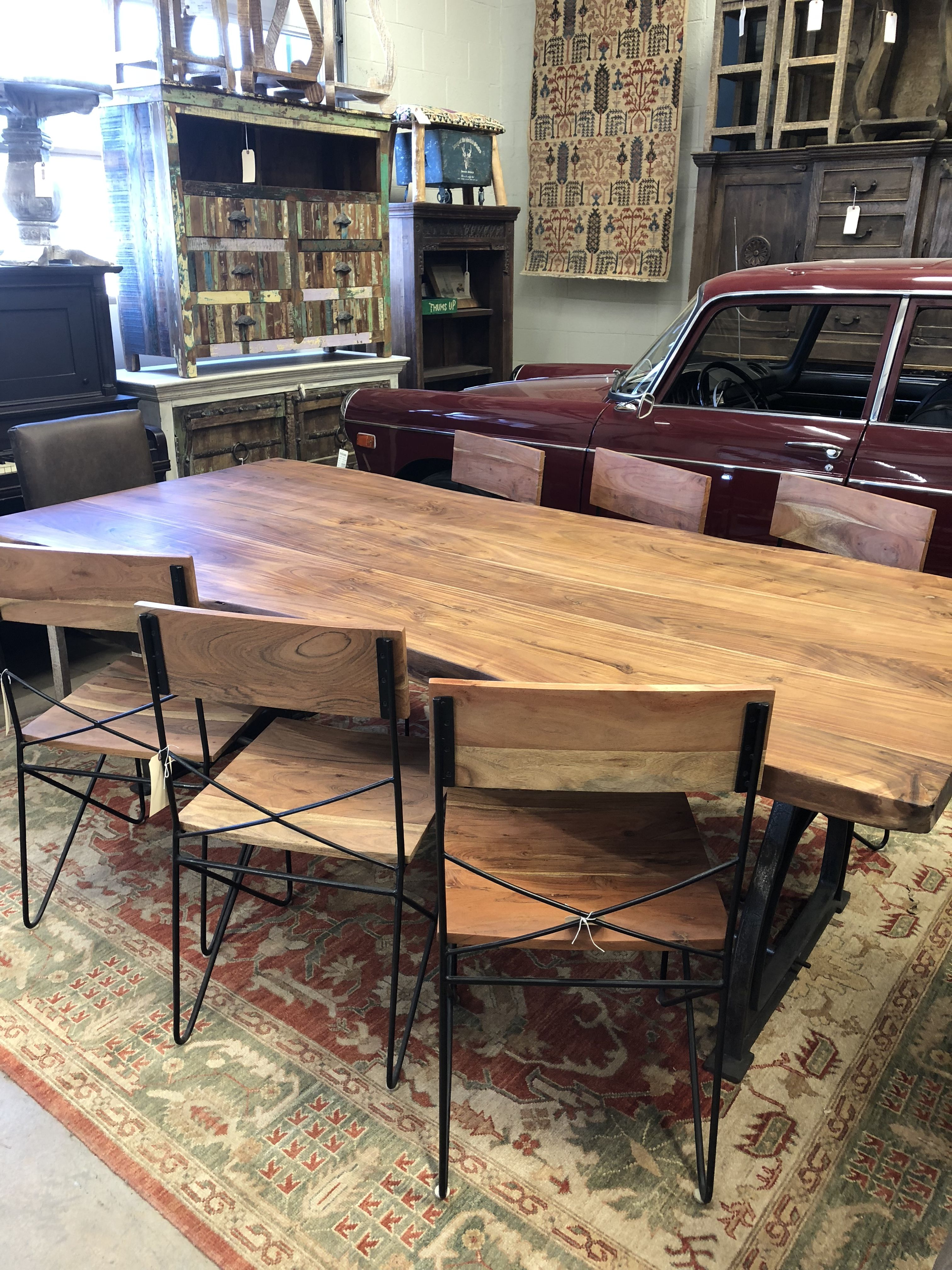 Solid wood live edge acacia table with solid iron industrial base 96 inches long one available