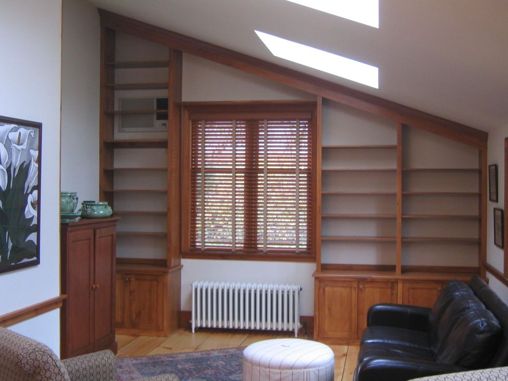 Vaulted Ceiling Bookshelves