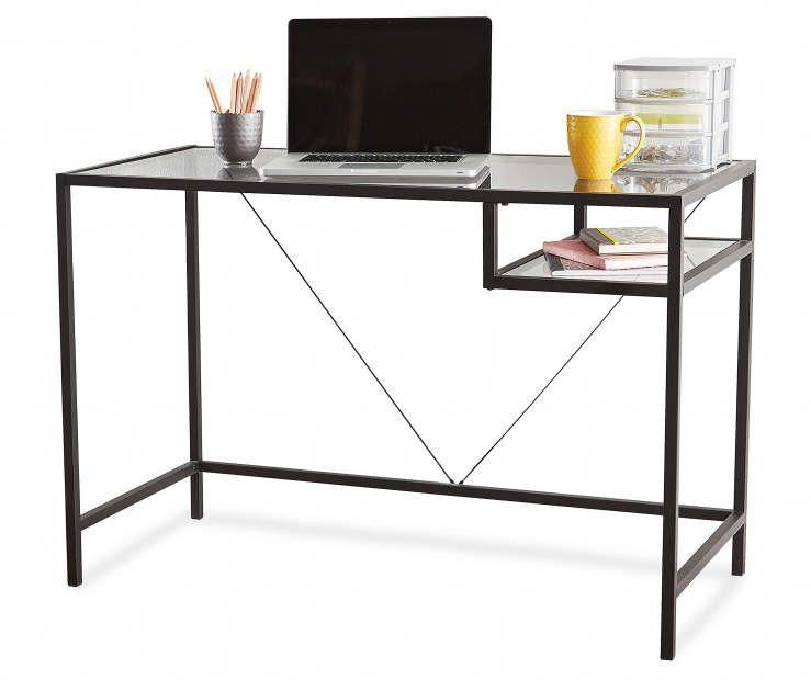 Buy A Black Glass Desk At Big Lots For Less Shop Big Lots Office In Our Department For Our Complete Sele Glass Desk Black Glass Desk Classic Office Furniture