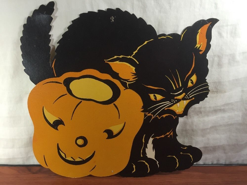 vintage halloween 1960s cardboard cutout jack o lantern black cat decoration ebay