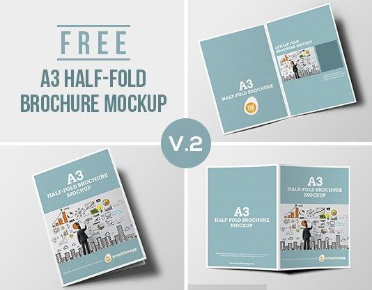 A3 Half-Fold Brochure Mockup-Preview | Mockups | Pinterest