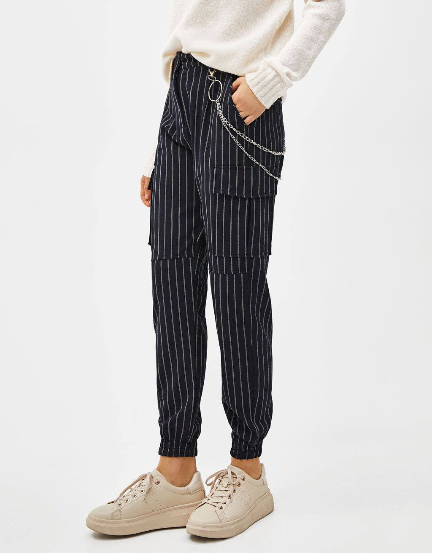 Pantalon Cargo Con Cadena Ropa Pantalones De Moda Moda De Ropa