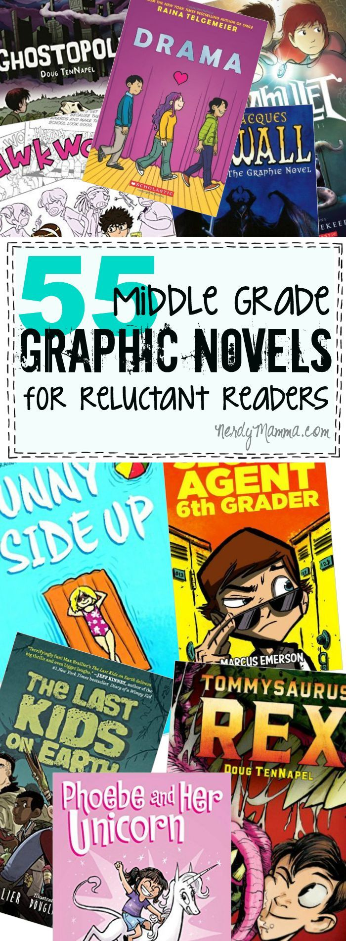 55 Middle Grade Graphic Novels for Reluctant Readers Both Boys & Girls Will Love is part of Middle school books, Graphic novel, Reluctant readers, Middle grade books, Books for boys, Middle grades - Let's be frank  Not like literally changing our names or anything, but just honest with each other  Some kids just don't like to read  They've just got a hangup that can drive any 5ht grade
