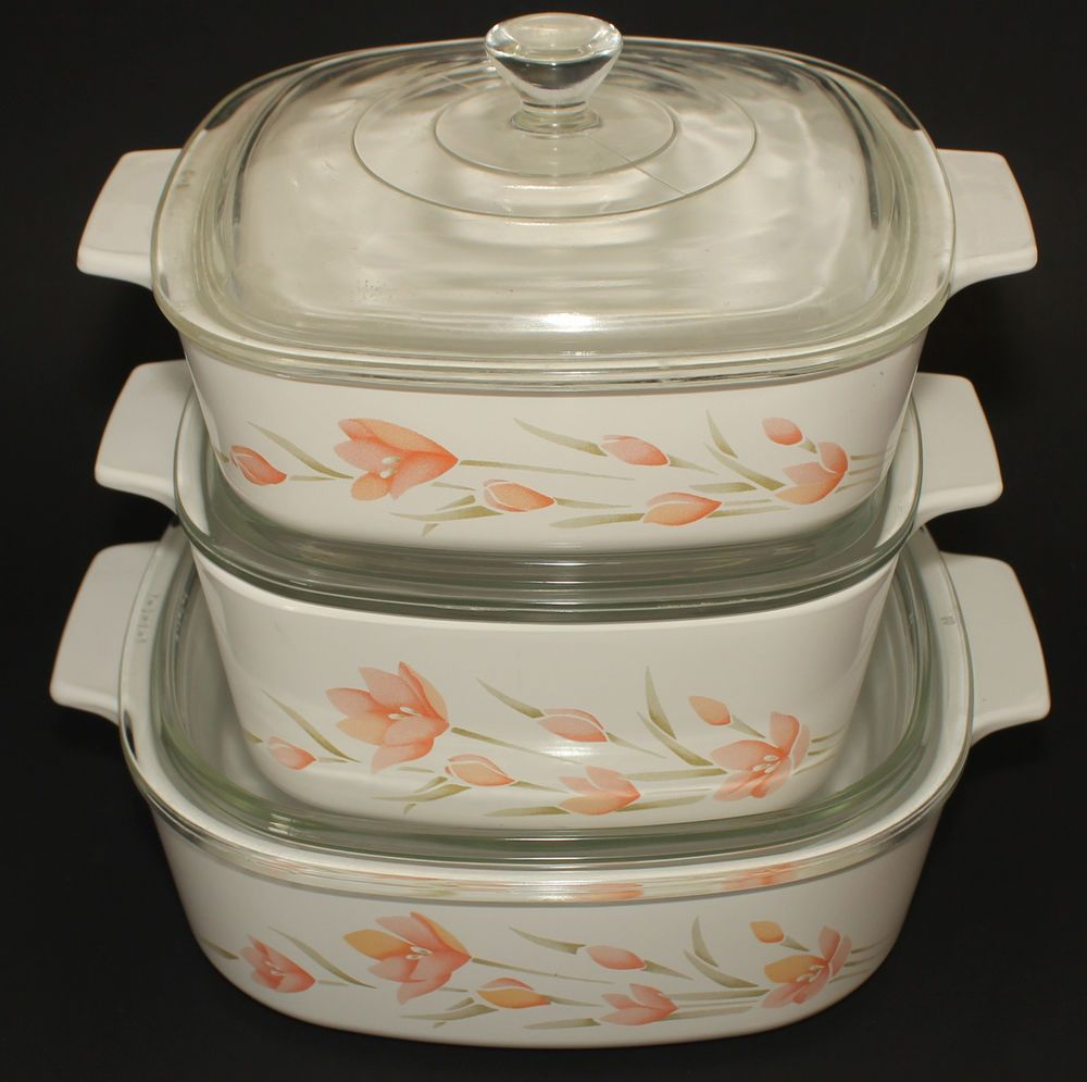 Corning Ware Peach Floral Casserole Dishes With Lids Set Of 3