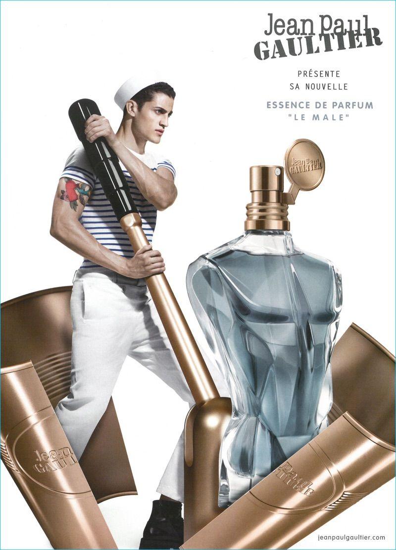 3ac42aa3a6 Model Chris Bunn fronts Jean Paul Gaultier's Le Male Essence de Parfum  fragrance campaign.