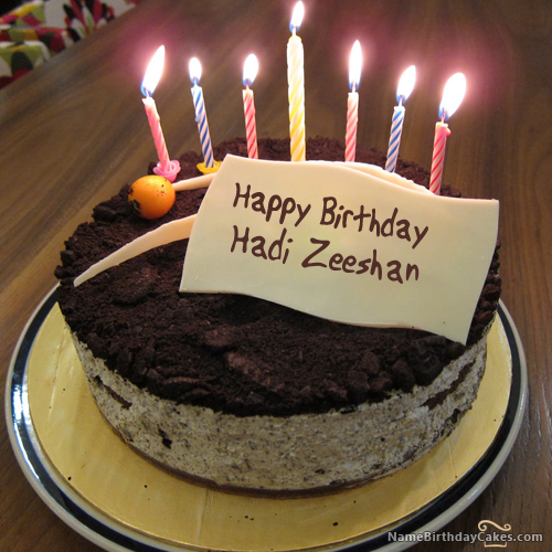 I have written hadi zeeshan Name on Cakes and Wishes on this