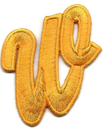"""Iron On Embroidered Patch Golden Yellow Script  2/"""" Letter /""""I/"""" SCRIPT LETTERS"""