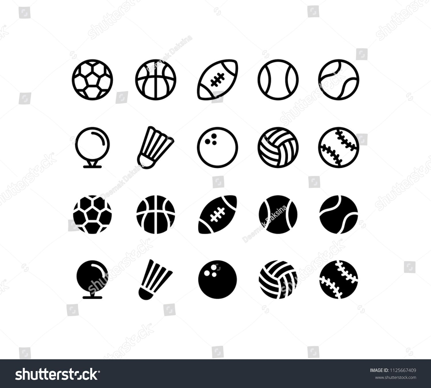 Sports Ball Icon Set Football Basketball Ball Baseball Tennis Soccer Sport Game Golf Volleyball Rugby Bowling Badminto Sport Icon Icon Design Icon