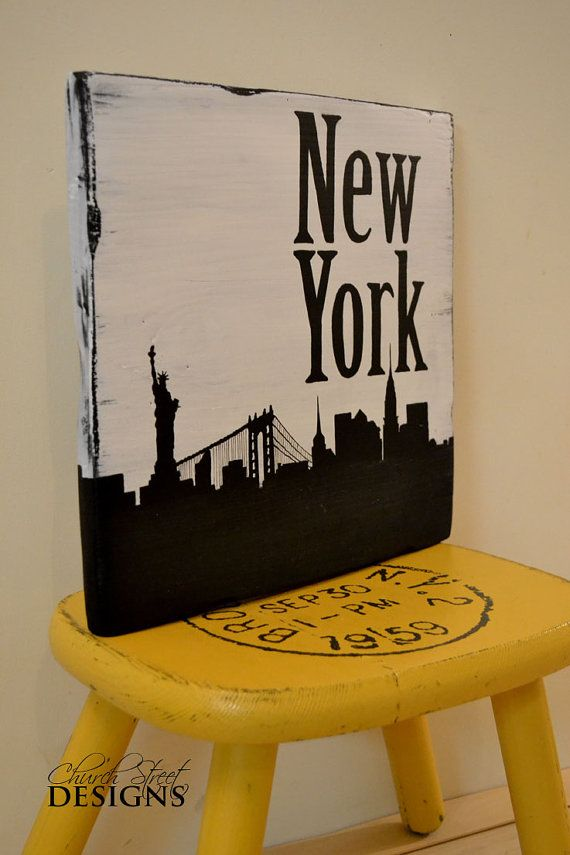 New York City Skyline Silhouette Sign Hand Painted Wooden Custom Order Major Signs Church Street Designs