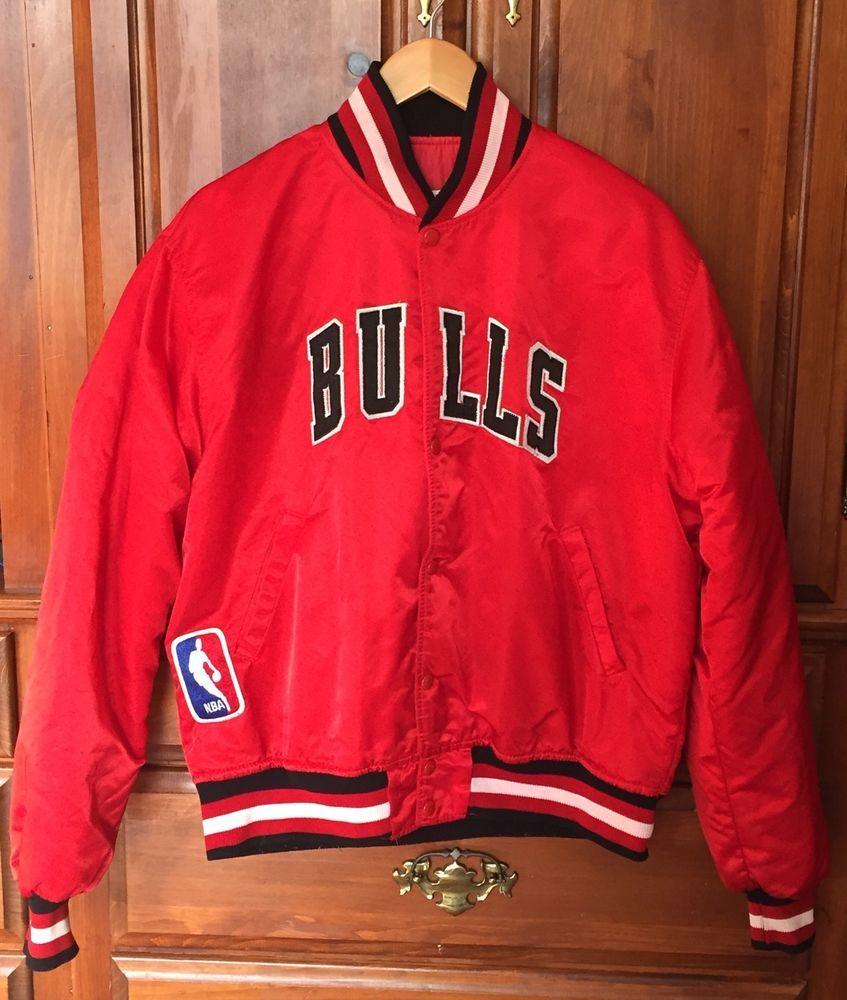 236b82c549d Vintage 90s Chicago Bulls Starter Red Satin Snap Front Jacket Mens Large