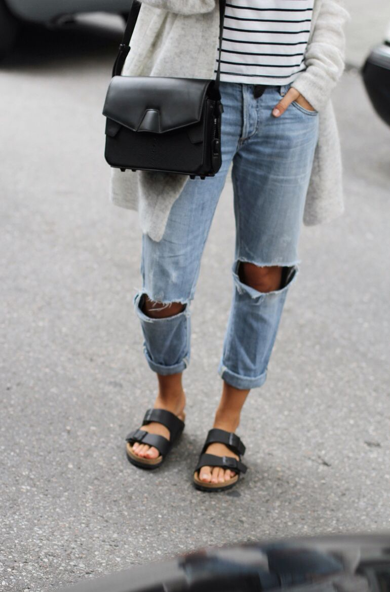 Ripped jeans and birkenstocks